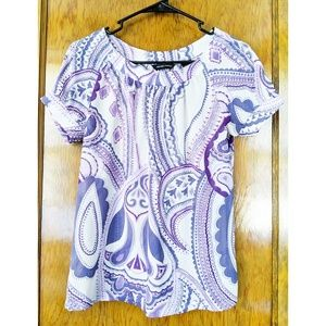 New York & Company Top Purple Paisley  XS